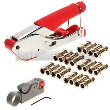 Compression Tool F BNC RCA RG6 RG59 Connector Cable Coax Stripper Crimper Kit