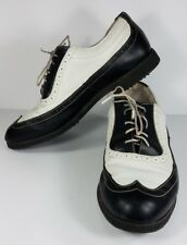 FootJoy Europa white black lace up casual wingtip golf shoes mens size 9 M