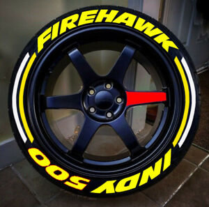 "Permanent Tire Sticker Letter FIREHAWK INDY500 + STRING  16""-22"" FOR4TIRES 1.25"""
