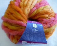 Lana Grossa Feltro Paillettes Filzwolle 50g Farbe 751 Goldgelb/Orange/Himbeer