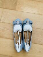 Authentic Salvatore Ferragamo Vera Flat Size 6 Baby Blue Brand New