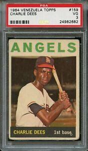 1964 Venezuela Topps Baseball Card #159 Charlie Dees Angels PSA 2 Graded Good