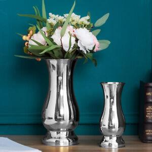 Large Stunning Iron Silver Luxury Flower Wedding Vase UrnTable XMAS Home Decor