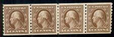 US #395 4¢ brown, Coil Paste-Up Strip of 4, og, LH, VF, Miller certificate,