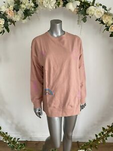 Influence Jumper Top Size 12 Dusky Pink Slogan Relaxed Fit Sweater Top New JA60