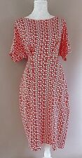 Ladies Short Sleeved Summer Dress- Red/White Daisy Design- UK Size 20- NEW