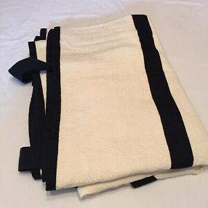 "White Jacquard with Black Ties Roman Shade Waverly 16"" x 61"" Cotton"