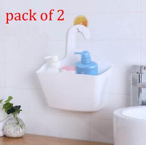 2PCS Plastic Hanging Basket Shower Basket Bathroom Organiser Kitchen Hinch New