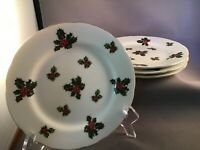 """VINTAGE SET OF 4 LEFTON 7952 PORCELAIN CHRISTMAS HOLLY HOLIDAY PARTY 7"""" PLATE"""