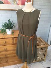 Khaki Green Tie Belt Dress Size 12-14