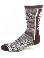 Texas A&M Aggies For Bare Feet Bar Stripe Vert Gray Outline Name Crew Socks