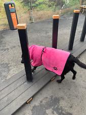 PLAIN PINK Dog towel/Dog robe, drying coat, hooded paw print design