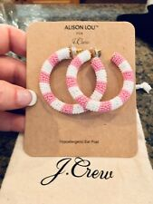 Beaded Hoops! New$65 Pink With Bag! J.Crew Alison Lou X J.Crew Striped