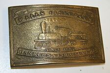 Vintage WELLS FARGO and Co Banking Forwarders Brass Belt Buckle Rare