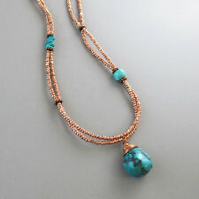 djs Sundance Sol Double Strand Copper Glass Bead Wire Wrapped Turquoise Necklace