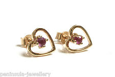 9ct Gold Ruby Heart stud earrings Gift Boxed Made in UK Christmas Gift Xmas
