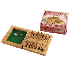 NEW WOODEN TRAVEL GAME BACKGAMMON WITH DICE & METAL PEGS 9009 HOM
