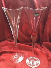 FLAWLESS Stunning 2 HOYA Crystal Desire Clear Rose CHAMPAGNE WINE FLUTES GLASSES