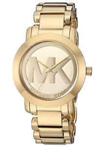 Michael Kors Womens Gold Tone MK Logo Dial Runway Watch NEW Tags $275