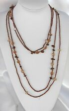 Brown doppia Collana Lunga Pietre, perline Cristalli Naturale,perle da donna ,