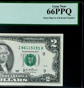 GEM 2003 $2 FEDERAL RESERVE NOTE- MISALIGNED DIGIT ERROR -PMG#66 EPQ GEM NEW