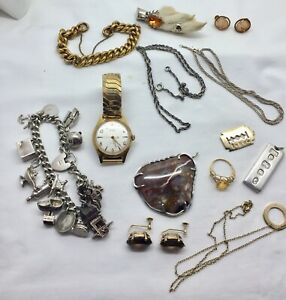 Lot Of Antique And Vintage Silver & Gold  Diamond Jewellery.