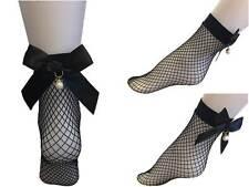 Netz Socken Fishnet Socken mit Schleife Schwarz