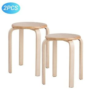 Modern K/D Rubber Wooden Stool Practical Round Stacking For Home
