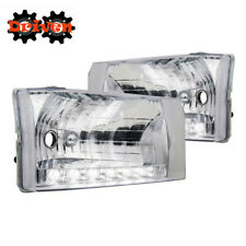 99-04 Ford F250 F350 Super Duty Excursion Clear Housing Headlights w/LED Running