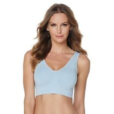 Ahh By Rhonda Shear Cotton Blend Sports Bra with Removable Pads XL  Blue
