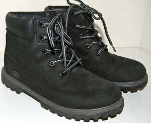 Skechers Mecca Bunkhouse Kids Boys Faux Leather Ankle Boots Shoes size 3