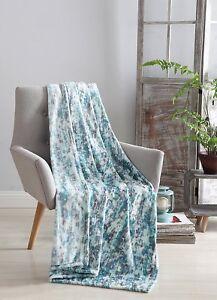 Decorative Hues of Blue Throw Blanket: Soft Plush Velvet Fleece Rain NWOP