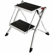 2 Step Stool Folding Anti-Slip Safety Mat Tread White Black Ladder Kitchen DIY