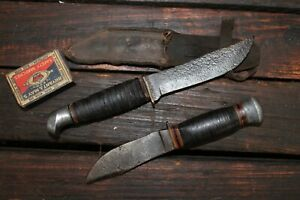 Vintage Knife Bowie Blade Hunting Military Army Leather WW2