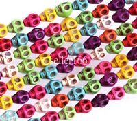 50 Pcs Multi-Color Turquoise Skull Head Howlite Spacer Beads Charms 8mm