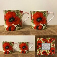 Red Flower Poppy Mugs Set of 4 Fine Bone China 10oz Princess Mug