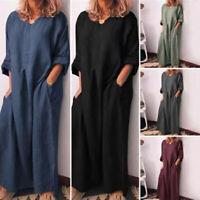 Womens Loose Baggy Long Maxi Dress Ladies Casual Long Sleeve Kaftan Shirt Dr fc