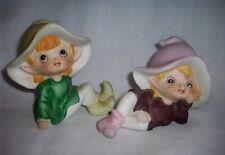 Homco Porcelain Pixies Figurines #5212 & 5213 Multi Color