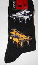 Pianos on Black Mens/Womens Socks