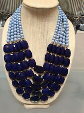 NWOT Multi Strand Blues Beaded Bib Statement Necklace Anthropologie