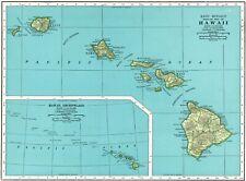 1947 Antique HAWAII Map Vintage 1940's  Map of Hawaii Hawaiian Islands Map 8182