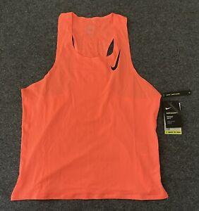 Nike Men's Aeroswift Singlet Running Coral Peach Tank Top CJ7835-854 Sz MEDIUM