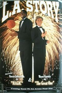 MAGIC JOHNSON LAKERS GRETZKY KINGS 1991 VINTAGE NBA COSTACOS BROTHERS POSTER