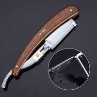 Wood Handle Straight Stainless Steel Razor Blades Barber Folding Shaving Knife~