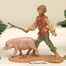 "Fontanini Depose Italy 4""-5"" Clement Boy Herding Pig Nativity Village Figure New"