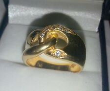 Diamond Set FANCY Wide Band SOLID 18K GOLD HALLMARKED DRESS RING SIZE P US 7.5