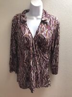 top blouse large l womens casual lightweight brown purple print stretch v neck