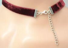 Choker Chain Vintage Velvet Elastic Marcasite 925er Silver Wine Red