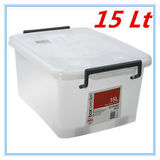 15Lt STORAGE TUB BOX CONTAINERS HEAVY DUTY ROLLER WHEEL LIDS CARRY HANDLES AP