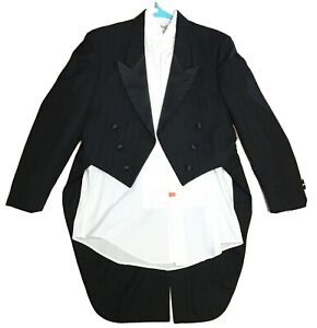 After Six Mens 40R Tuxedo Jacket Tailcoat Tails Peak Lapel Formal Magician Shirt